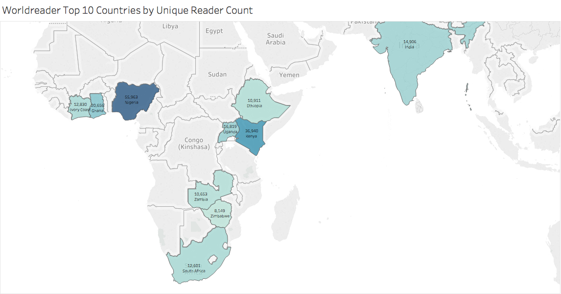 Map Visual of the Top 10 Countries by Count of Unique Readers
